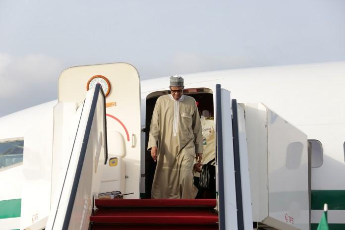 president buhari arrives from london,